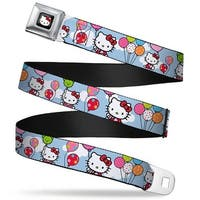 Hello Kitty W Red Bow Full Color Black Hello Kitty In Clouds Holding Seatbelt Belt