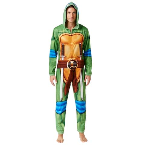Briefly Stated Mens Leonardo Bodysuit Jumpsuit Pajama, green, Small