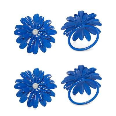 VIBHSA Flower Napkin Rings Set of 8 (Blue Pearl)