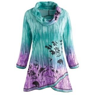 Women's Tunic Top- Ombre Rainbow Cowl Neck 3/4 Sleeve Blouse