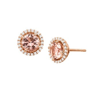 2 5/8 ct Simulated Morganite Stud Earrings with Cubic Zirconia in 14K Rose Gold-Plated Sterling Silver - Pink