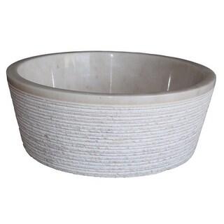 Brushed Natural Stone Vessel Sink - Afyon White Marble