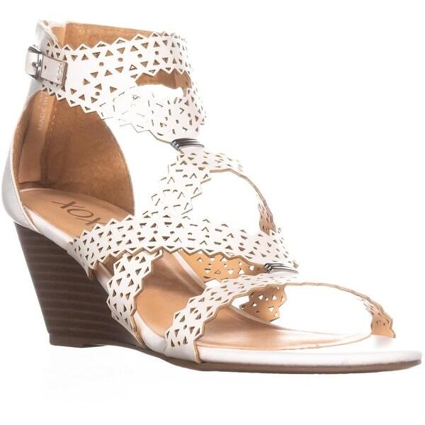 Shop XOXO Satisha Perforated Strap Wedge Sandals, White