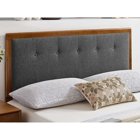 Marlin Traditional Charcoal Fabric Button Tufted Twin Size Walnut Wooden Headboard