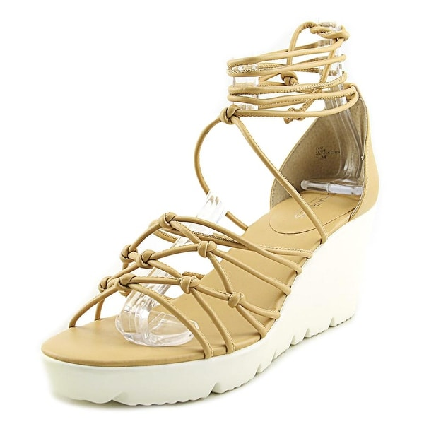 Charles By Charles David Vegas Women Open Toe Leather Nude Wedge Sandal