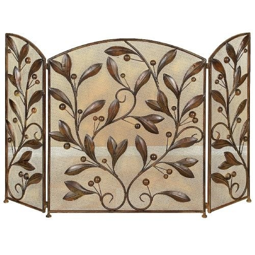 Aspire Home Accents 71889 Metal Leaves Fireplace Screen - Brown