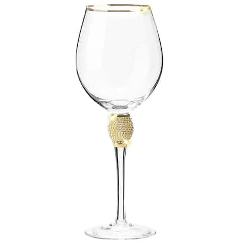 Cheer Collection Red Wine Glass with Rhinestone Design and Gold or Silver Rim