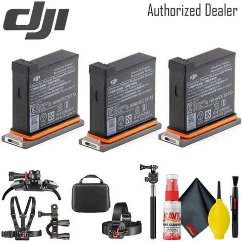 DJI Osmo Action Camera Batteries (3 Total) - Mounting Kit - Cleaning