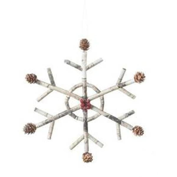 "9.75"" Snowy Winter Country Rustic Style Snowflake with Pinecones & Berries Christmas Ornament"