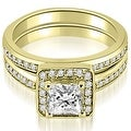 1.00 cttw. 14K Yellow Gold Halo Princess and Round Cut Diamond Matching Set - Thumbnail 0