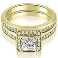 1.25 cttw. 14K Yellow Gold Halo Princess and Round Cut Diamond Matching Set - Thumbnail 0