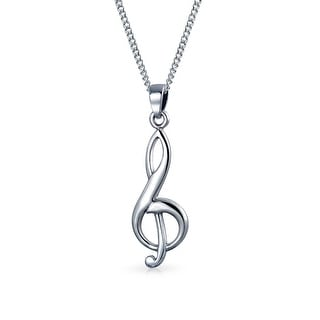 Bling Jewelry .925 Sterling Silver Treble Clef Music Note Necklace 18 Inches