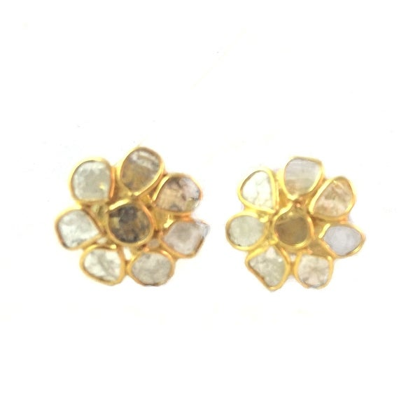 Genuine Slice Diamond Studs with Sterling Silver in Gold Rhodium
