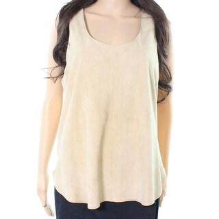 Polo Ralph Lauren NEW Beige Women Size XL Scoop-Neck Suede Blouse