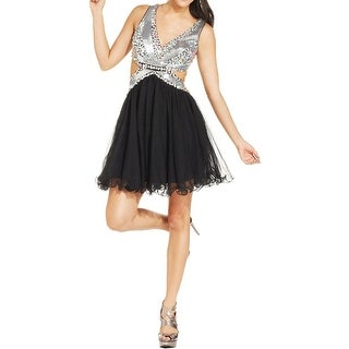 Blondie Nites Womens Juniors Party Dress Sequined Embellished