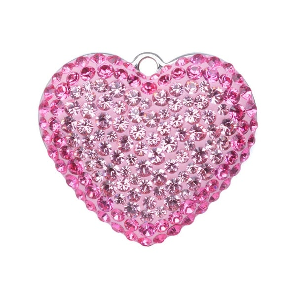 Swarovski Elements Crystal, 67412 Pave Heart Pendant 20mm, 1 Piece, Light Rose / Rose