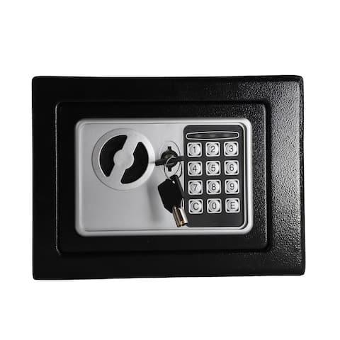 Steel Digital Electronic Safes, Keypad and Key Lock, Black - N/A