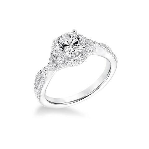 TERRA Platinum 0.5 CT Diamond Halo Engagement Ring Split Infinity Band By Scott Kay