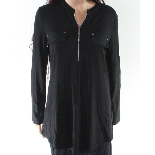 03c86baf91b Shop Ya Ya Bay Black Women s Size Medium M Zip Front Tunic Blouse - Free  Shipping On Orders Over  45 - Overstock.com - 27287126