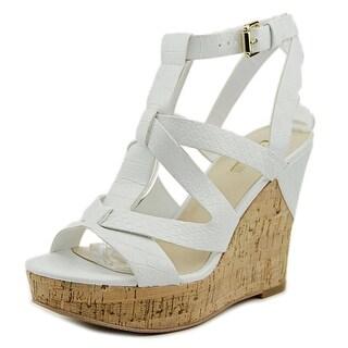 Guess Harlea Women  Open Toe Leather White Wedge Sandal