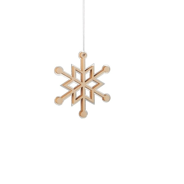 "4"" Winter Light Rustic Wooden Mirrored Snowflake Christmas Ornament - brown"