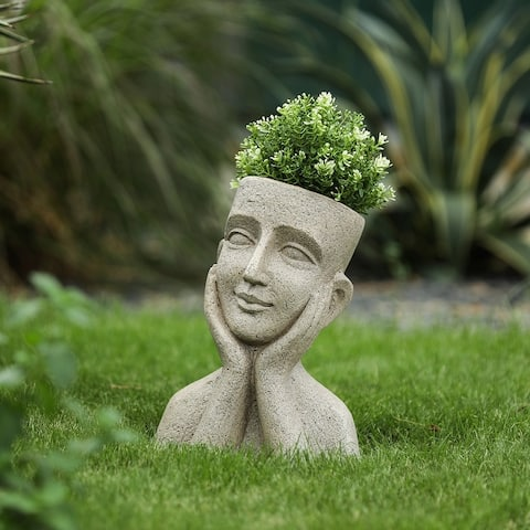 Speckled Mgo Content Bust Head Planter