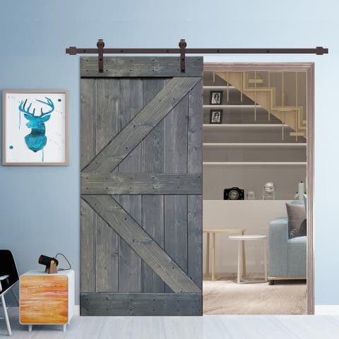 36 in x 84 in Gray Stained K Style Wood Barn Door w/ Sliding Hardware