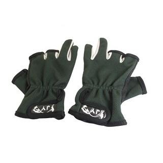 Unique Bargains Women Men Anti-slip Nylon 3 Cut Finger Fishing Gloves Dotted Palm