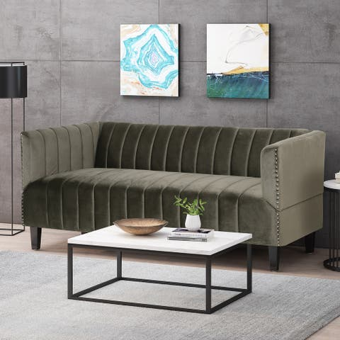 Weymouth Contemporary Channel Stitch Velvet 3 Seater Sofa by Christopher Knight Home