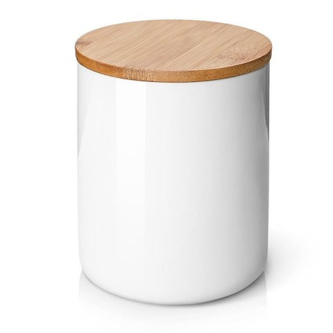 """DOWAN Kitchen Canister, White Utensil Holder for Countertop, 54 FL OZ (1580 ML) , with Airtight Lid, 4.9"""" x 6.29"""" Storage Jar"""