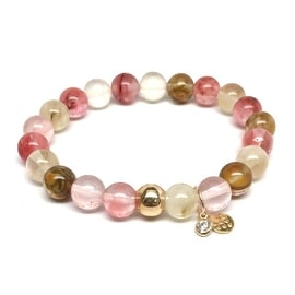 Cherry Pink Quartz 'Zoe' Stretch Bracelet 14k over Sterling Silver