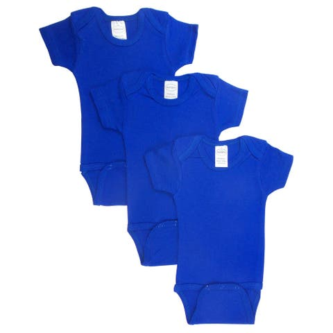 """Pack of 3 Blue Small Interlock Short Sleeve Bodysuit Onesies for 6 to 12 Months, 6"""""""