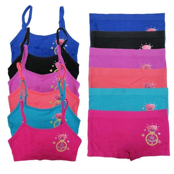 "Girl's 6 Pack Seamless ""Diamond Ring"" Print Underwear Set"