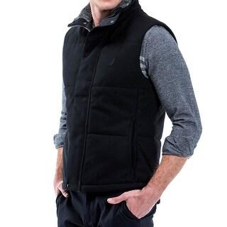 Nautica NEW Black Mens Size XL Full-Zip Vest Wool Mock-Neck Jacket