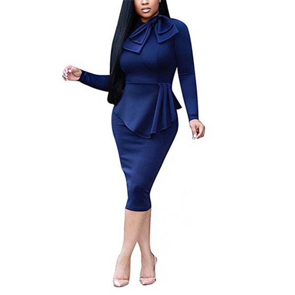 f637e41d5e3a Women's Elegant Long Sleeve Peplum Wear To Work Business Party Bodycon  Pencil