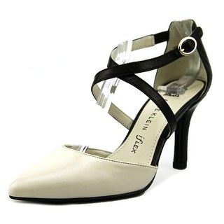 Anne Klein Fion Women Pointed Toe Leather Ivory Heels
