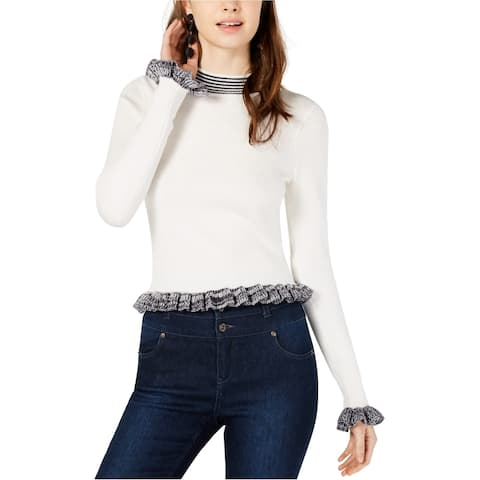 French Connection Womens Alexa Ruffle Trim Pullover Sweater, white, Large
