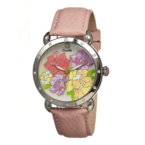 Bertha Angela Women's Quartz Watch, Mother of Pearl Dial, Genuine Leather Band, Luminous Hands