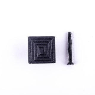 Square Maze Cabinet Hardware Iron Cabinet Knob Black Pack of 4