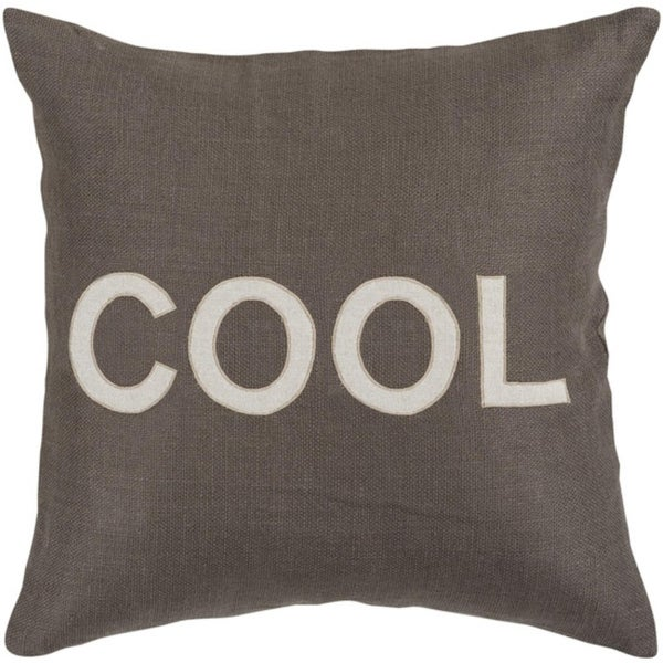 """22"""" Charcoal Gray and White """"COOL"""" Text Decorative Down Throw Pillow"""