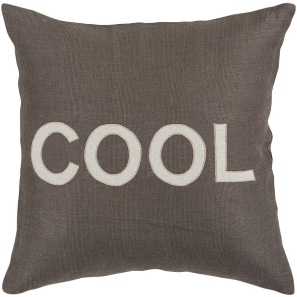 "22"" Charcoal Gray and White ""COOL"" Text Decorative Throw Pillow"