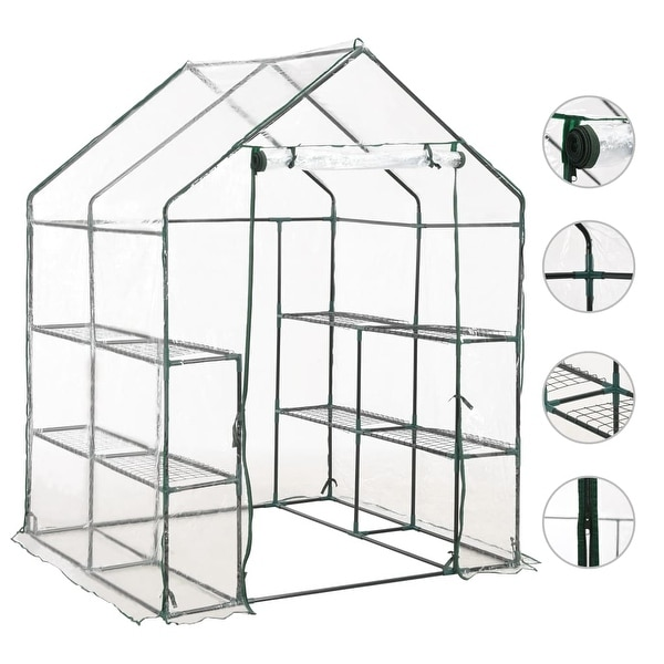 vidaXL Greenhouse with 8 Shelves 4.7'x4.7'x6.4'. Opens flyout.