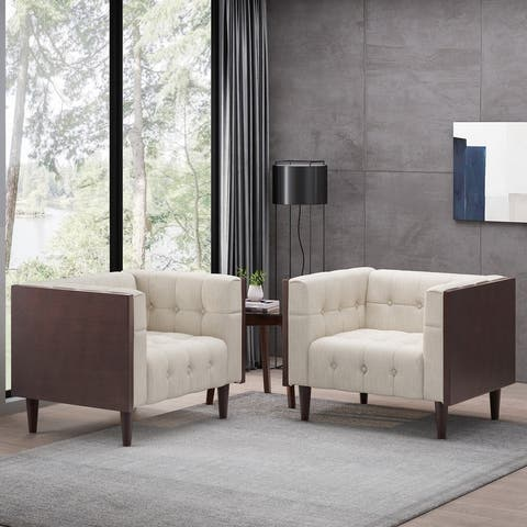 """McLarnan Contemporary Tufted Club Chairs (Set of 2) by Christopher Knight Home - 44.50"""" L x 31.00"""" W x 30.50"""" H"""