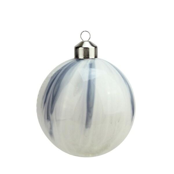 "4"" Winter Light Elegant White and Blue Marblized Glass Ball Christmas Ornament"
