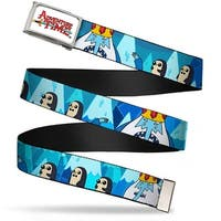 Adventure Time Logo Fcg White  Chrome Ice King & Penguins Webbing Web Belt