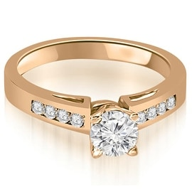 0.70 cttw. 14K Rose Gold Channel Set Round Cut Diamond Engagement Ring