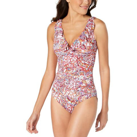 f6f7181a7c Lauren Ralph Lauren Womens Ruffle Tummy-Control One-Piece Swimsuit 10 Plum