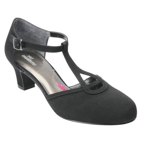 Ros Hommerson Womens Heidi Leather Round Toe T-Strap Classic Pumps