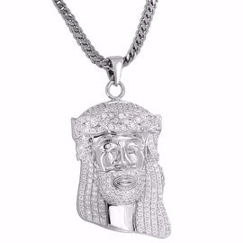 Mens Custom Made Jesus Face Pendant Iced Out Simulated Diamonds Free Stainless Steel Franco 24""