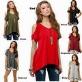 Women Casual Off the Shoulder Short Sleeve Loose Jersey Tunic Top - Thumbnail 1